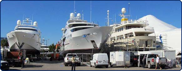 Mega yacht anchor chain installation and safety rail testing two vessels